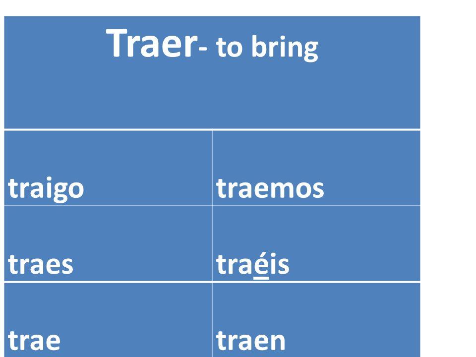 Traer - to bring traigotraemos traestraéis traetraen