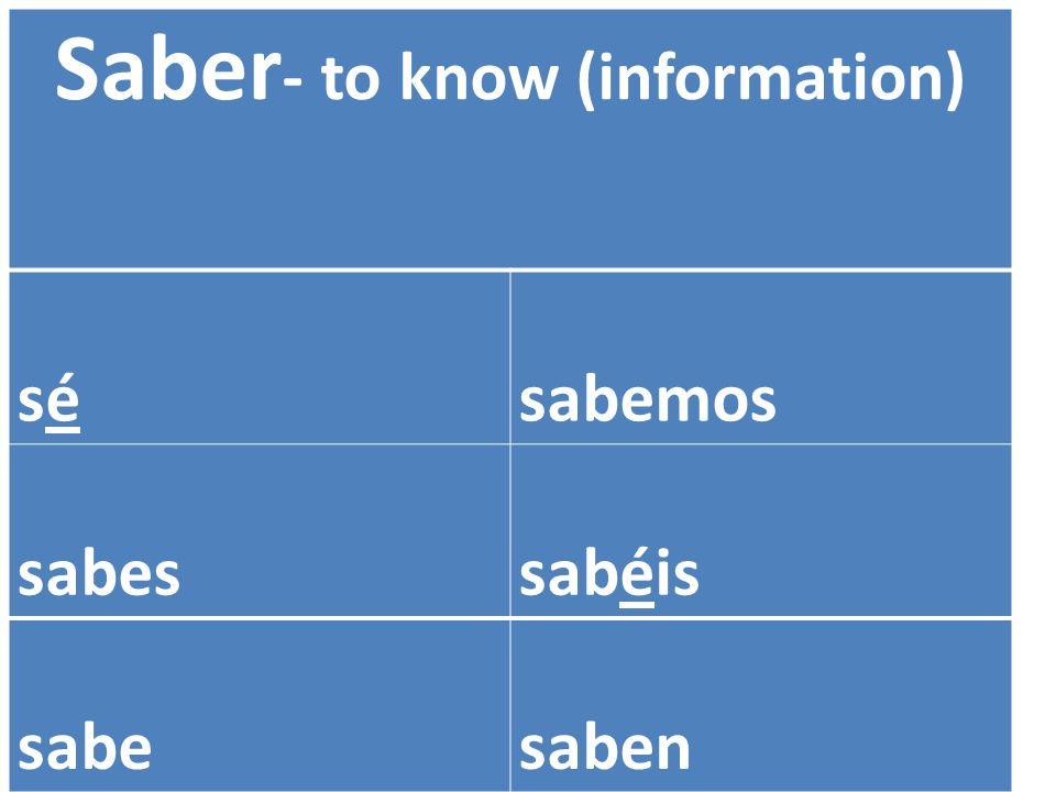 Saber - to know (information) sé sésabemos sabessabéis sabesaben