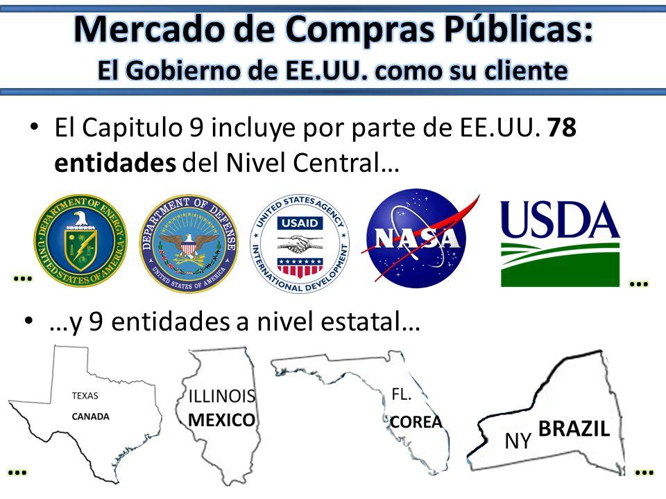 El Capitulo 9 incluye por parte de EE.UU. 78 entidades del Nivel Central… …y 9 entidades a nivel estatal…