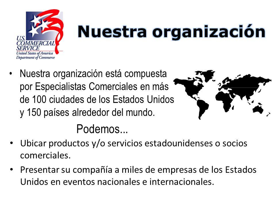 Ubicar productos y/o servicios estadounidenses o socios comerciales. Presentar su compañía a miles de empresas de los Estados Unidos en eventos nacion