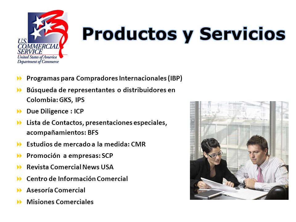 Programas para Compradores Internacionales (IBP) Búsqueda de representantes o distribuidores en Colombia: GKS, IPS Due Diligence : ICP Lista de Contac