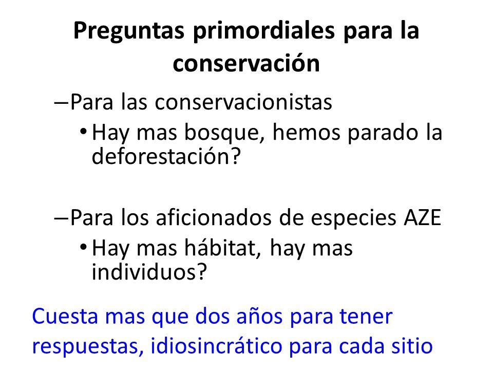 Preguntas primordiales para la conservación – Para las conservacionistas Hay mas bosque, hemos parado la deforestación.