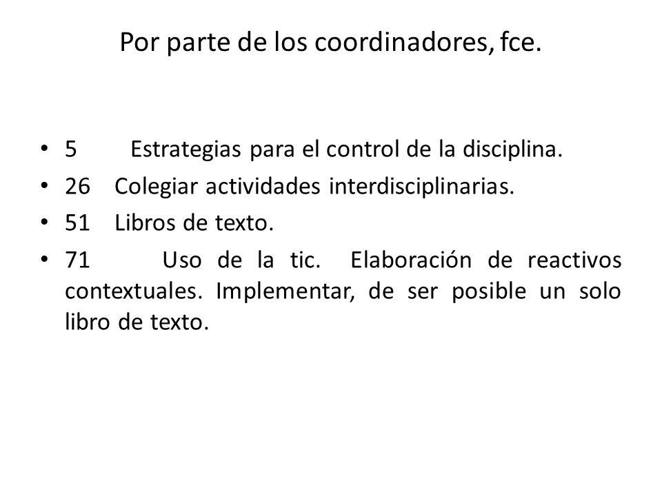 Por parte de los coordinadores, fce.5 Estrategias para el control de la disciplina.