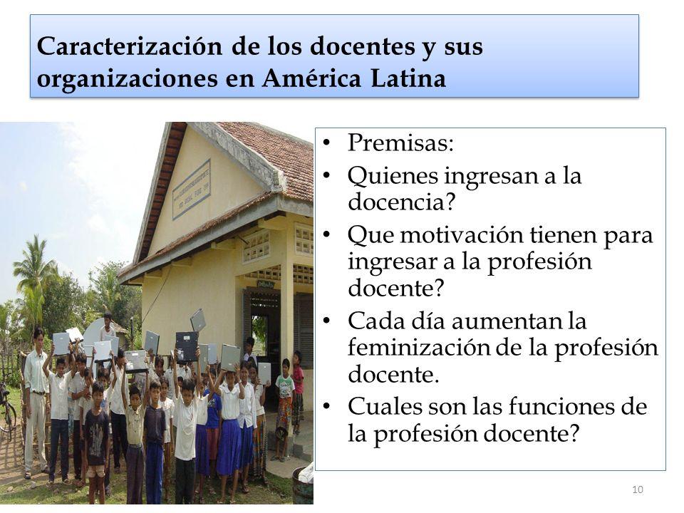 Caracterización de los docentes y sus organizaciones en América Latina Premisas: Quienes ingresan a la docencia? Que motivación tienen para ingresar a
