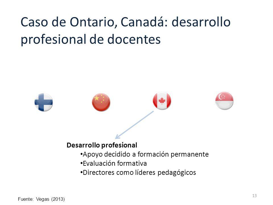 13 Desarrollo profesional Apoyo decidido a formación permanente Evaluación formativa Directores como líderes pedagógicos Caso de Ontario, Canadá: desarrollo profesional de docentes Fuente: Vegas (2013)