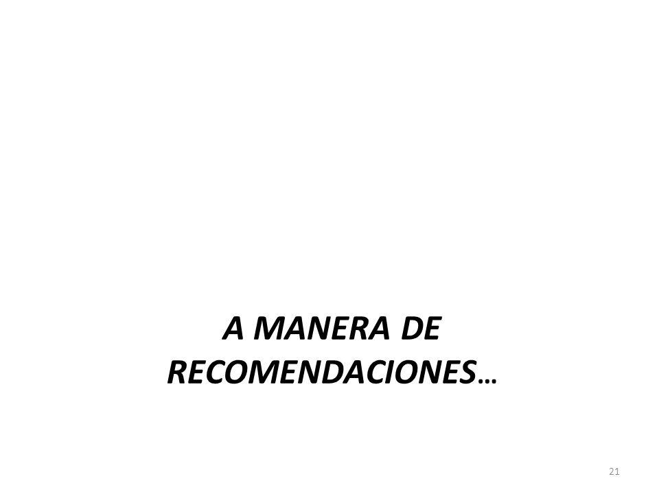 A MANERA DE RECOMENDACIONES … 21