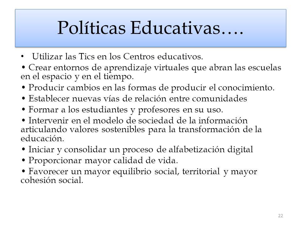 Políticas Educativas…. Utilizar las Tics en los Centros educativos. Crear entornos de aprendizaje virtuales que abran las escuelas en el espacio y en