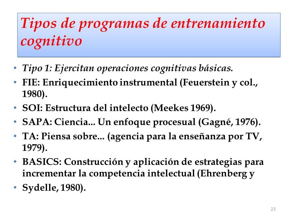 23 Tipos de programas de entrenamiento cognitivo Tipo 1: Ejercitan operaciones cognitivas básicas. FIE: Enriquecimiento instrumental (Feuerstein y col