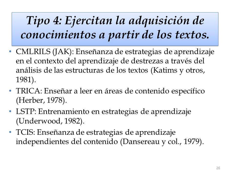 26 Tipo 4: Ejercitan la adquisición de conocimientos a partir de los textos. CMLRILS (JAK): Enseñanza de estrategias de aprendizaje en el contexto del