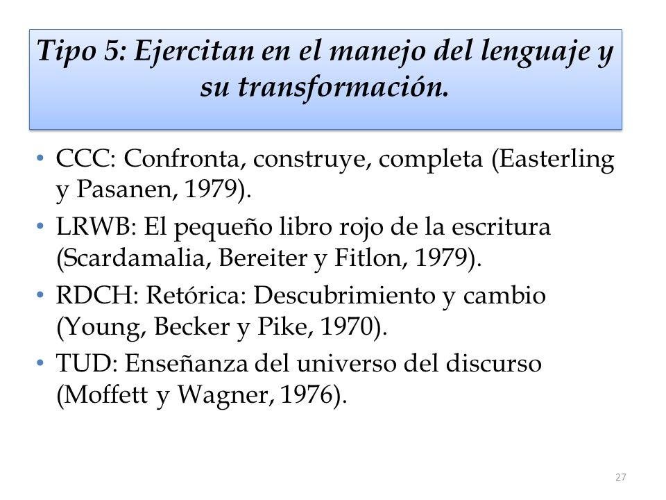 27 Tipo 5: Ejercitan en el manejo del lenguaje y su transformación. CCC: Confronta, construye, completa (Easterling y Pasanen, 1979). LRWB: El pequeño