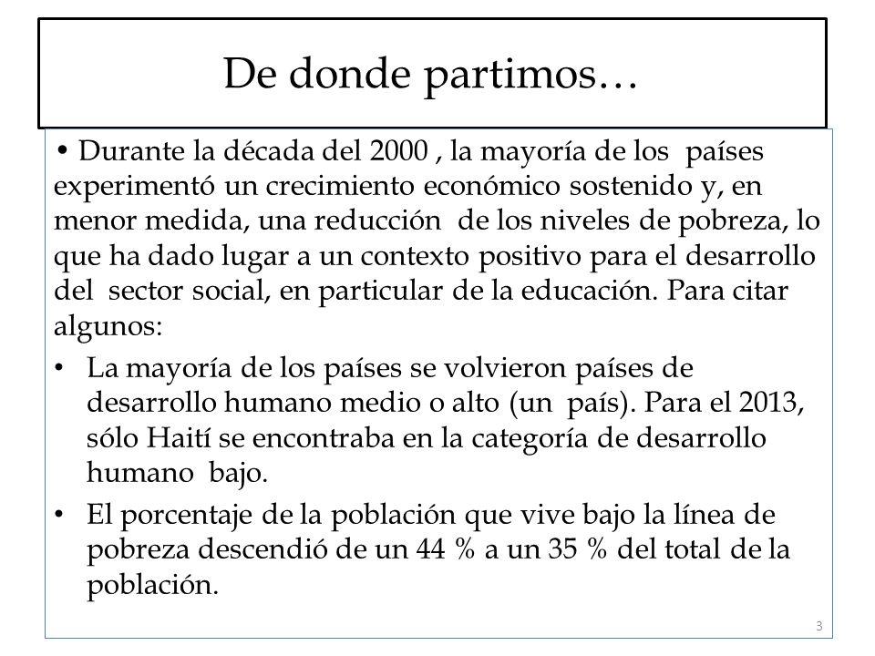 De donde partimos… Durante la década del 2000, la mayoría de los países experimentó un crecimiento económico sostenido y, en menor medida, una reducción de los niveles de pobreza, lo que ha dado lugar a un contexto positivo para el desarrollo del sector social, en particular de la educación.