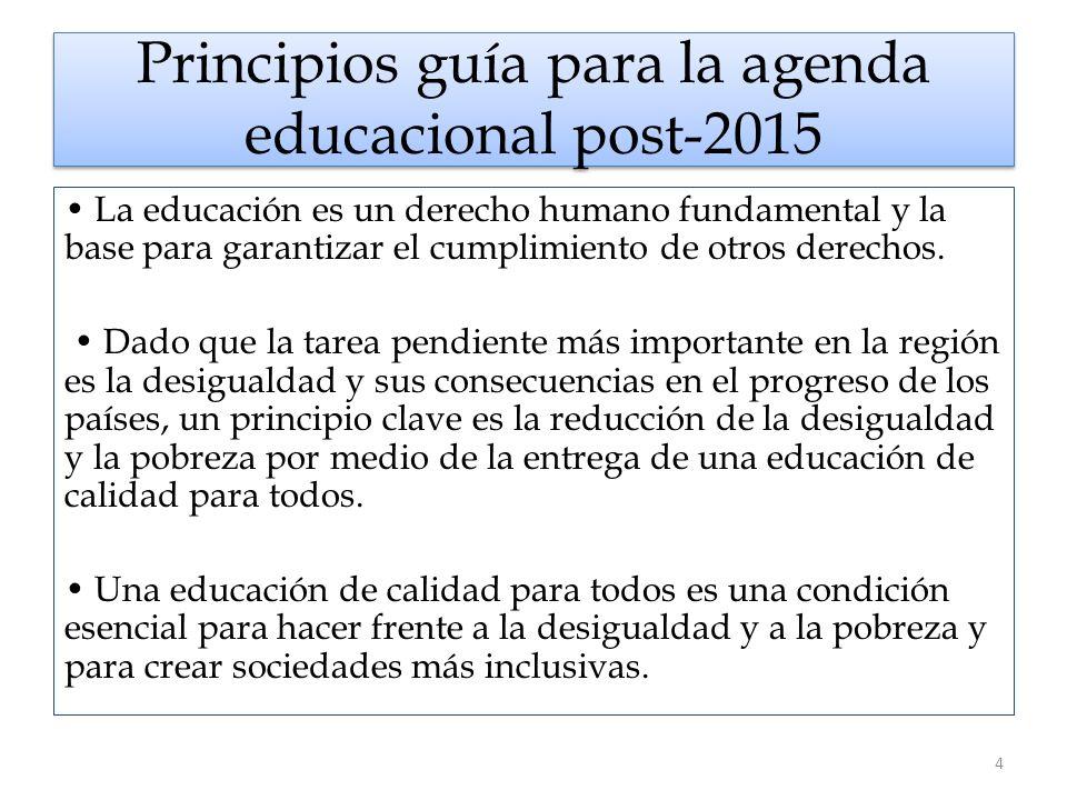 Principios guía para la agenda educacional post-2015 La educación es un derecho humano fundamental y la base para garantizar el cumplimiento de otros derechos.