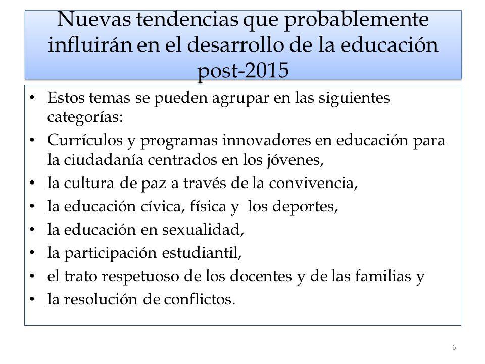 Nuevas tendencias que probablemente influirán en el desarrollo de la educación post-2015 Estos temas se pueden agrupar en las siguientes categorías: C
