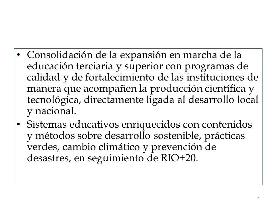 Consolidación de la expansión en marcha de la educación terciaria y superior con programas de calidad y de fortalecimiento de las instituciones de man