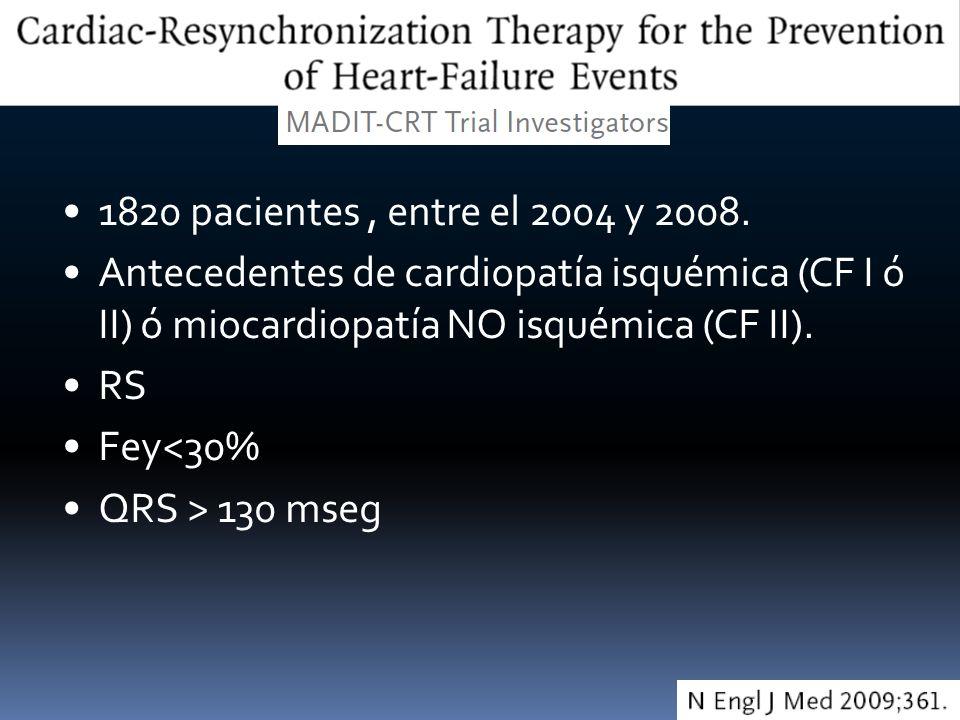 1820 pacientes, entre el 2004 y 2008. Antecedentes de cardiopatía isquémica (CF I ó II) ó miocardiopatía NO isquémica (CF II). RS Fey<30% QRS > 130 ms