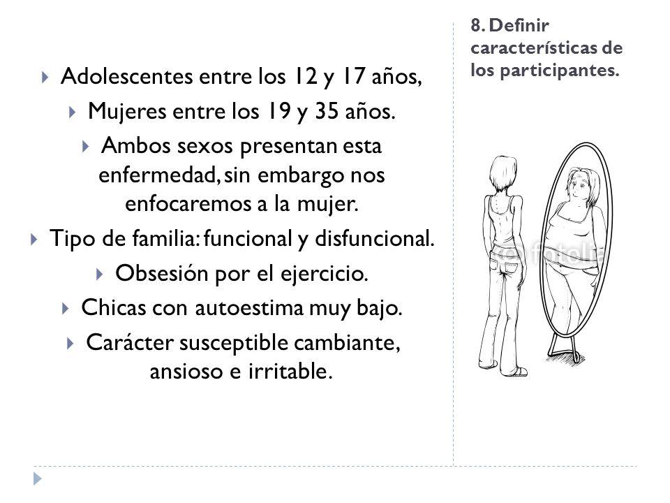 8. Definir características de los participantes. Adolescentes entre los 12 y 17 años, Mujeres entre los 19 y 35 años. Ambos sexos presentan esta enfer