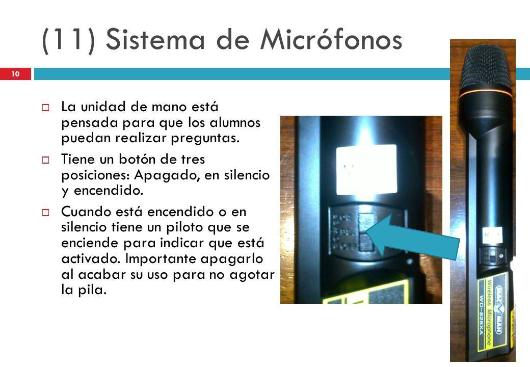 (11) Sistema de Micrófonos La unidad de mano está pensada para que los alumnos puedan realizar preguntas. Tiene un botón de tres posiciones: Apagado,