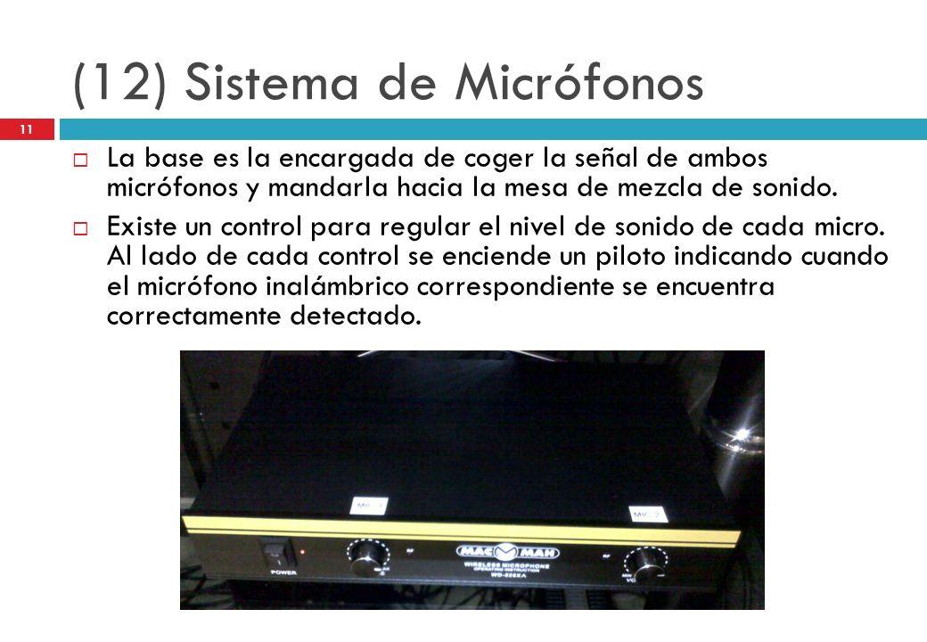(12) Sistema de Micrófonos La base es la encargada de coger la señal de ambos micrófonos y mandarla hacia la mesa de mezcla de sonido. Existe un contr