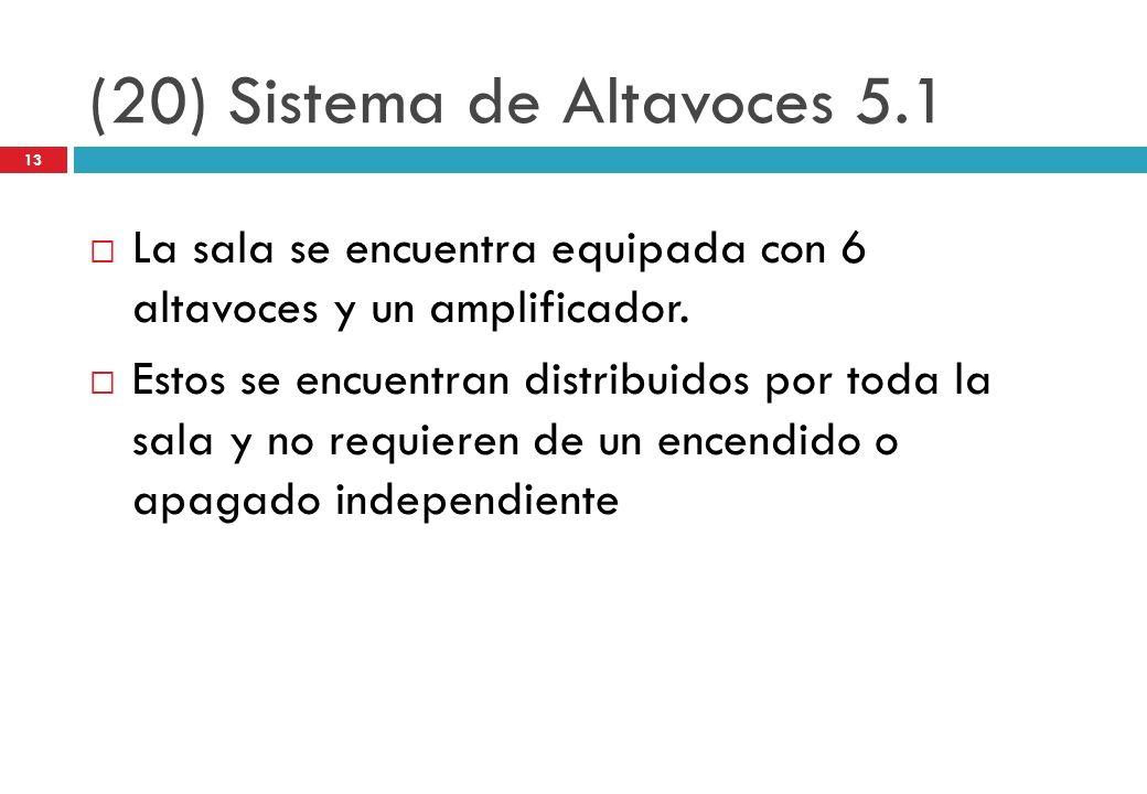 (20) Sistema de Altavoces 5.1 La sala se encuentra equipada con 6 altavoces y un amplificador. Estos se encuentran distribuidos por toda la sala y no
