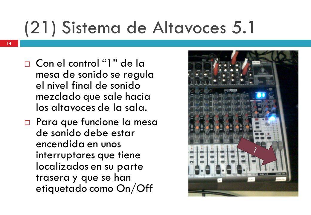 (21) Sistema de Altavoces 5.1 Con el control 1 de la mesa de sonido se regula el nivel final de sonido mezclado que sale hacia los altavoces de la sal