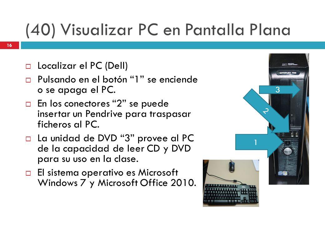 (40) Visualizar PC en Pantalla Plana Localizar el PC (Dell) Pulsando en el botón 1 se enciende o se apaga el PC. En los conectores 2 se puede insertar