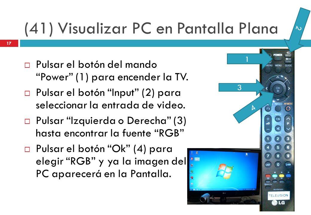 (41) Visualizar PC en Pantalla Plana Pulsar el botón del mando Power (1) para encender la TV. Pulsar el botón Input (2) para seleccionar la entrada de