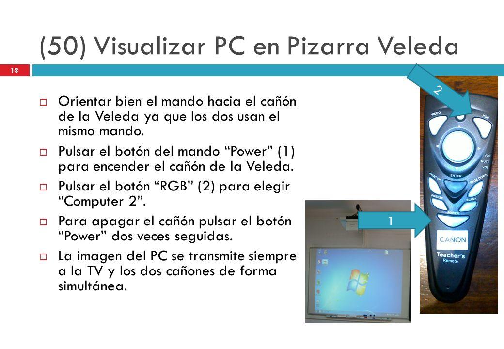 (50) Visualizar PC en Pizarra Veleda Orientar bien el mando hacia el cañón de la Veleda ya que los dos usan el mismo mando. Pulsar el botón del mando