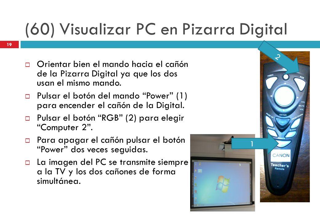 (60) Visualizar PC en Pizarra Digital Orientar bien el mando hacia el cañón de la Pizarra Digital ya que los dos usan el mismo mando. Pulsar el botón