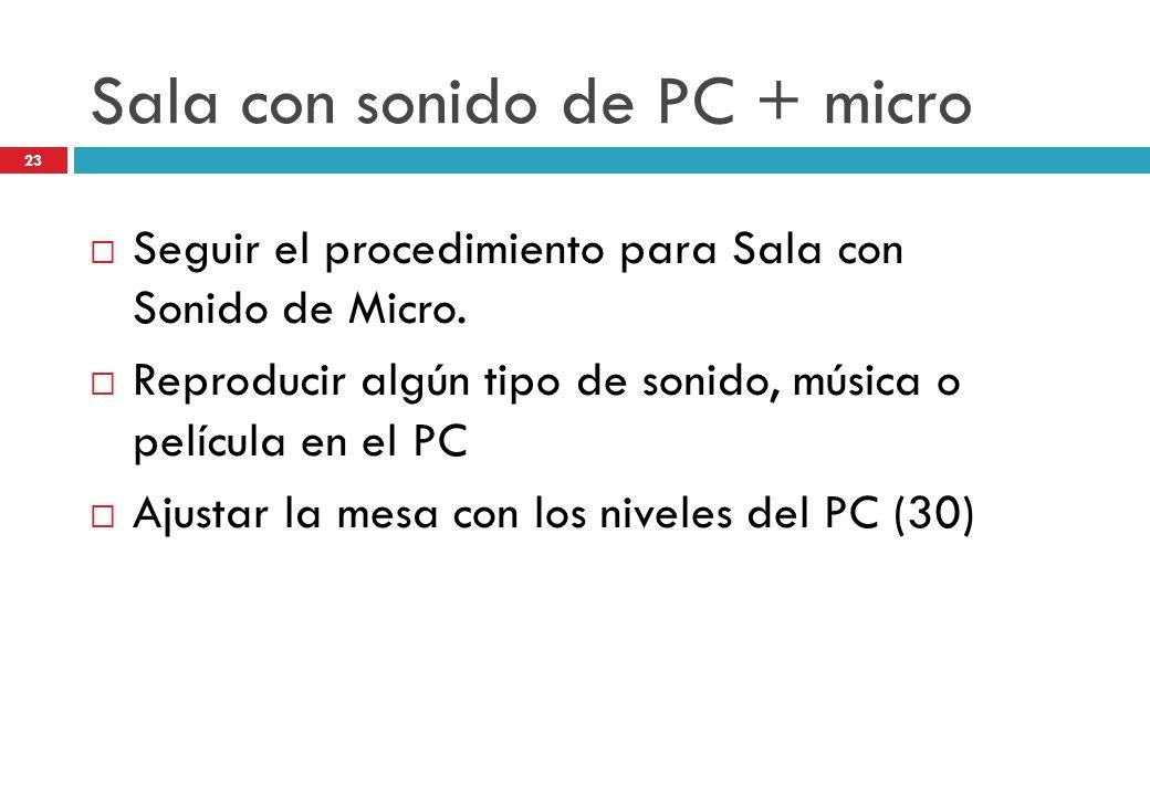 Sala con sonido de PC + micro Seguir el procedimiento para Sala con Sonido de Micro. Reproducir algún tipo de sonido, música o película en el PC Ajust