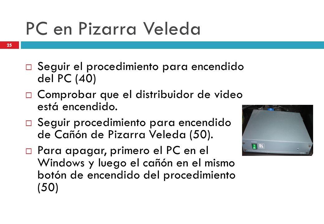 PC en Pizarra Veleda Seguir el procedimiento para encendido del PC (40) Comprobar que el distribuidor de video está encendido. Seguir procedimiento pa