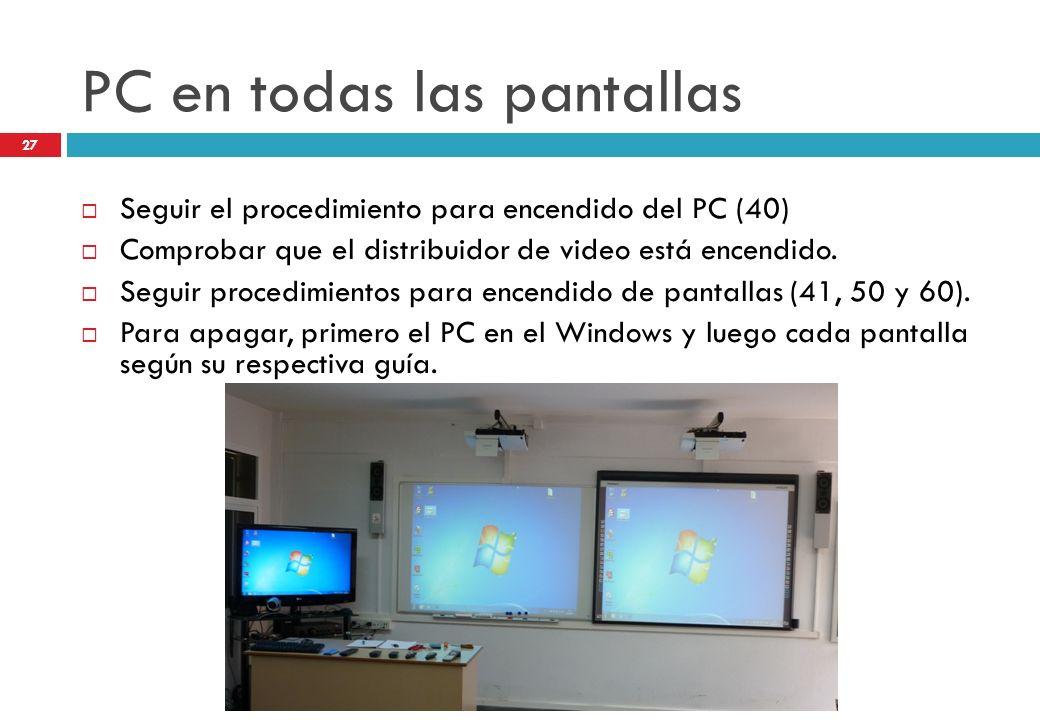 PC en todas las pantallas Seguir el procedimiento para encendido del PC (40) Comprobar que el distribuidor de video está encendido. Seguir procedimien