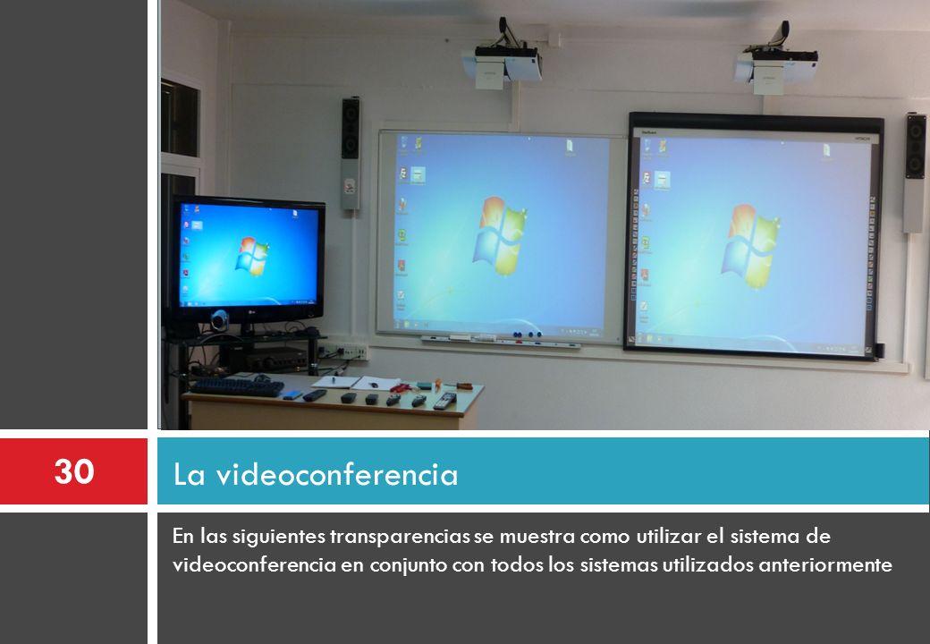 En las siguientes transparencias se muestra como utilizar el sistema de videoconferencia en conjunto con todos los sistemas utilizados anteriormente L