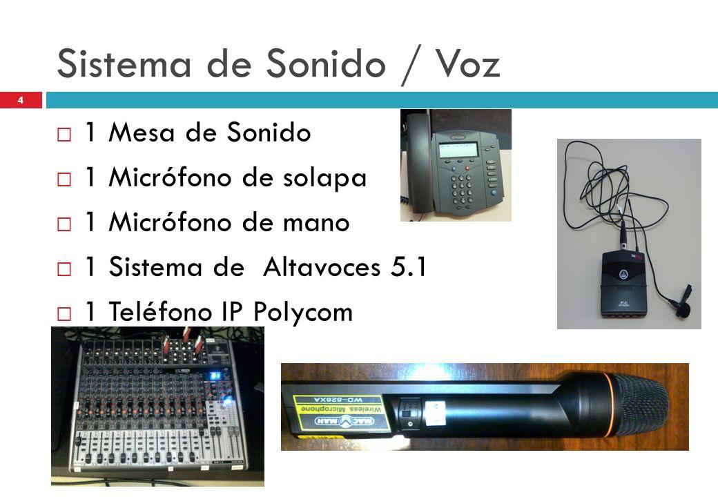 Sistema de Sonido / Voz 1 Mesa de Sonido 1 Micrófono de solapa 1 Micrófono de mano 1 Sistema de Altavoces 5.1 1 Teléfono IP Polycom 4