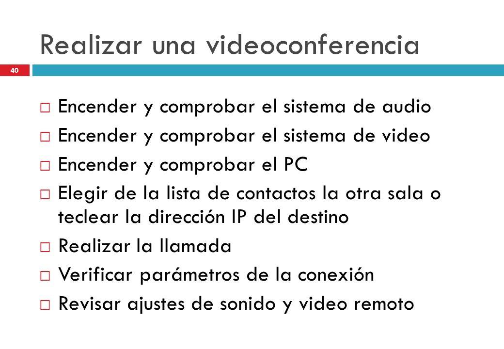 Realizar una videoconferencia Encender y comprobar el sistema de audio Encender y comprobar el sistema de video Encender y comprobar el PC Elegir de l
