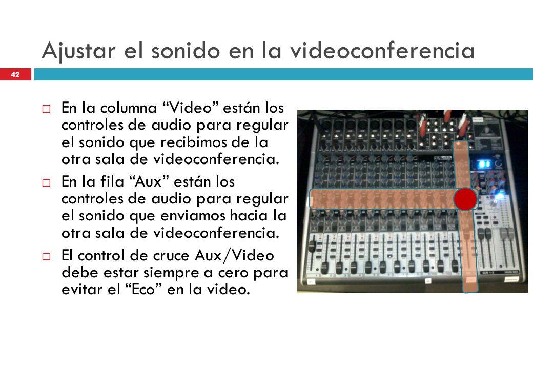 Ajustar el sonido en la videoconferencia En la columna Video están los controles de audio para regular el sonido que recibimos de la otra sala de vide