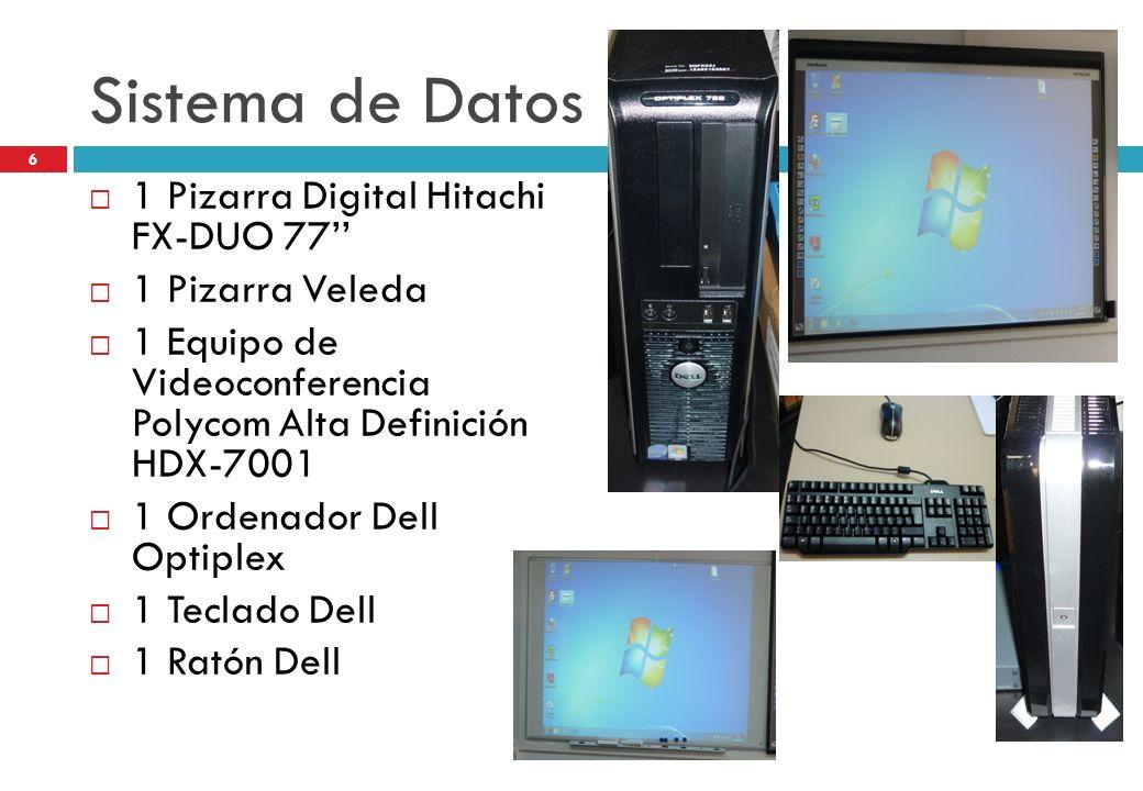 Sistema de Datos 1 Pizarra Digital Hitachi FX-DUO 77 1 Pizarra Veleda 1 Equipo de Videoconferencia Polycom Alta Definición HDX-7001 1 Ordenador Dell O