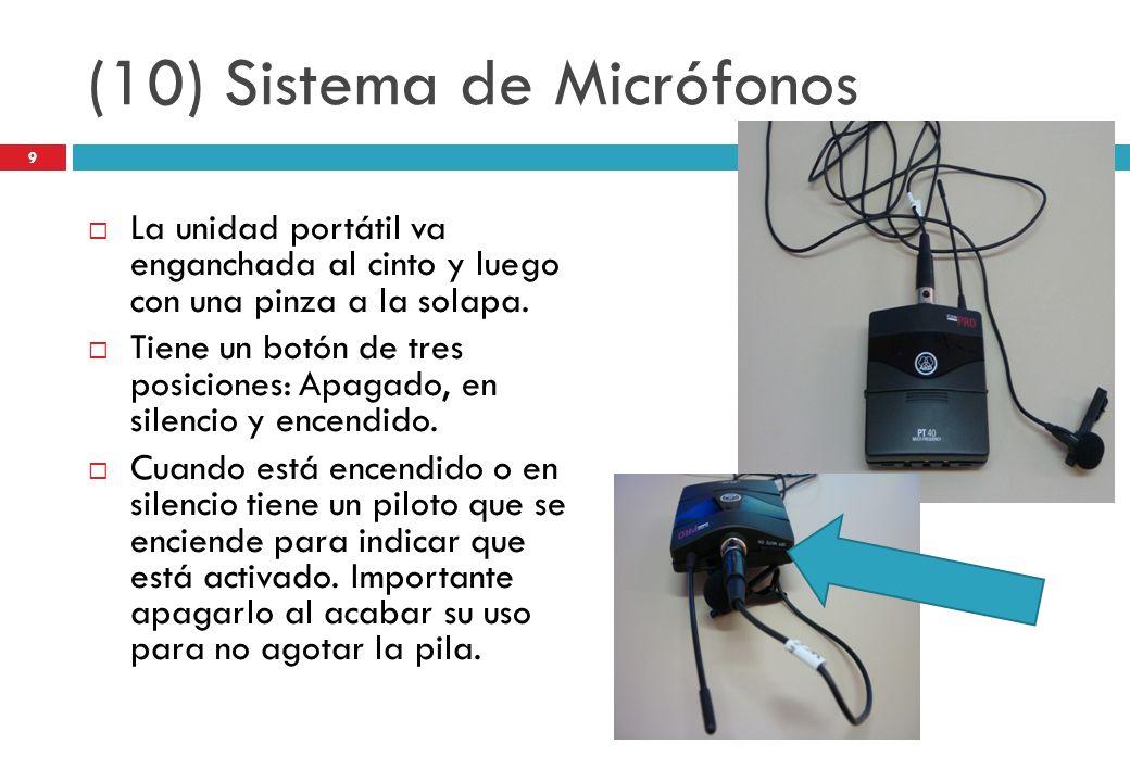 (10) Sistema de Micrófonos La unidad portátil va enganchada al cinto y luego con una pinza a la solapa. Tiene un botón de tres posiciones: Apagado, en