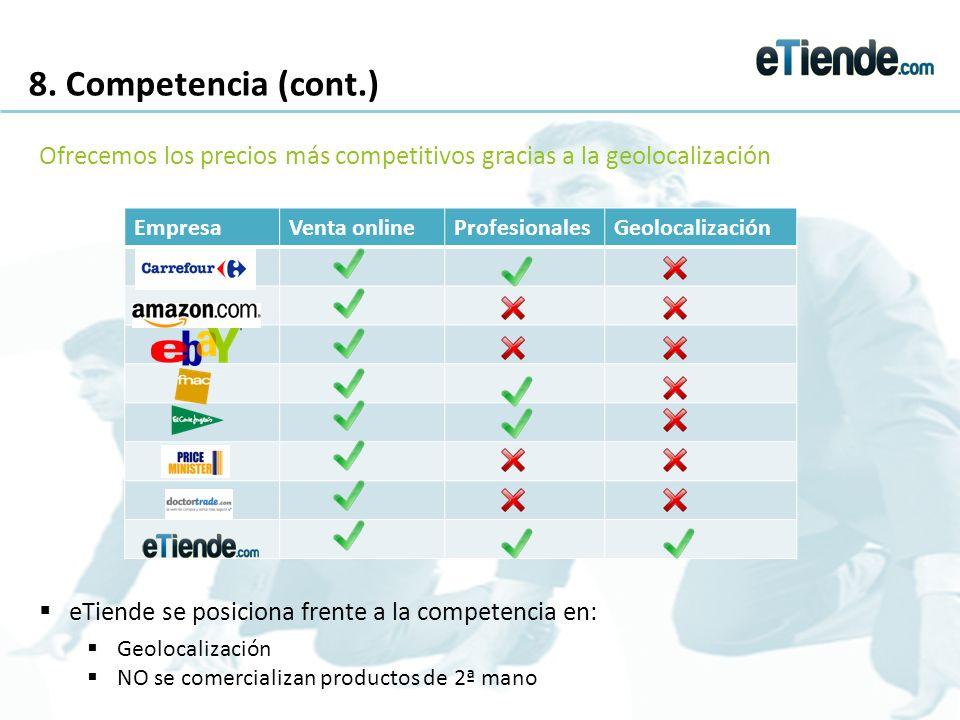 8. Competencia (cont.) eTiende se posiciona frente a la competencia en: Geolocalización NO se comercializan productos de 2ª mano Ofrecemos los precios