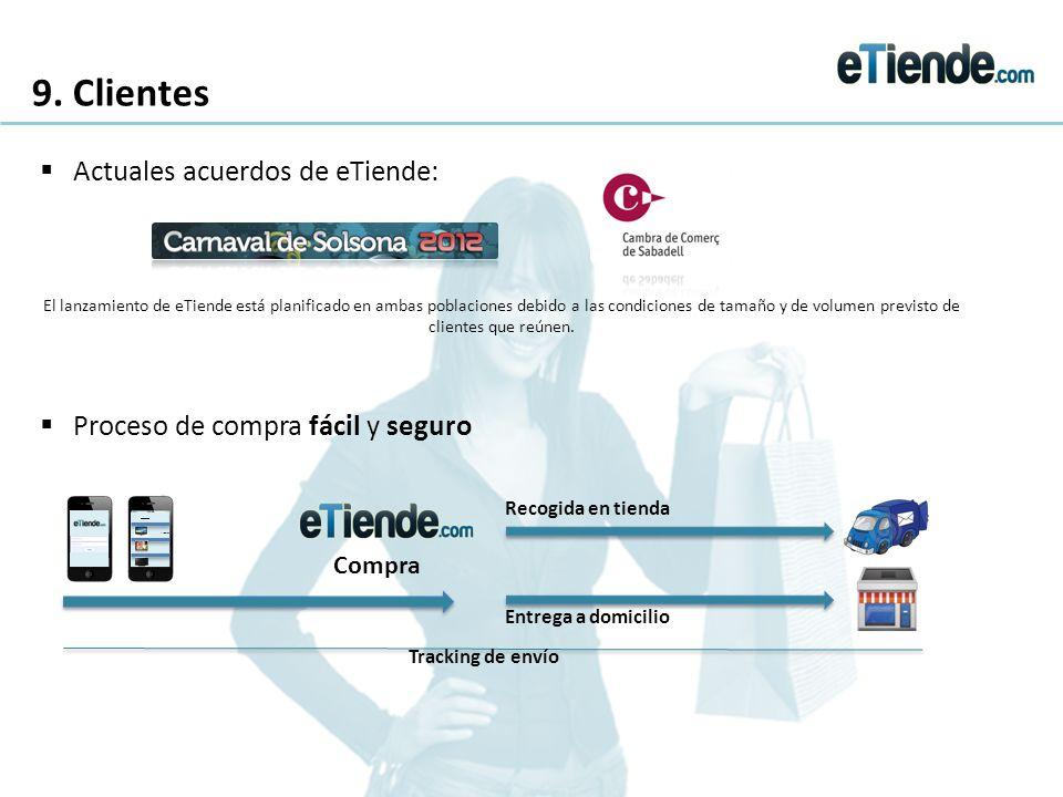 9. Clientes Actuales acuerdos de eTiende: El lanzamiento de eTiende está planificado en ambas poblaciones debido a las condiciones de tamaño y de volu