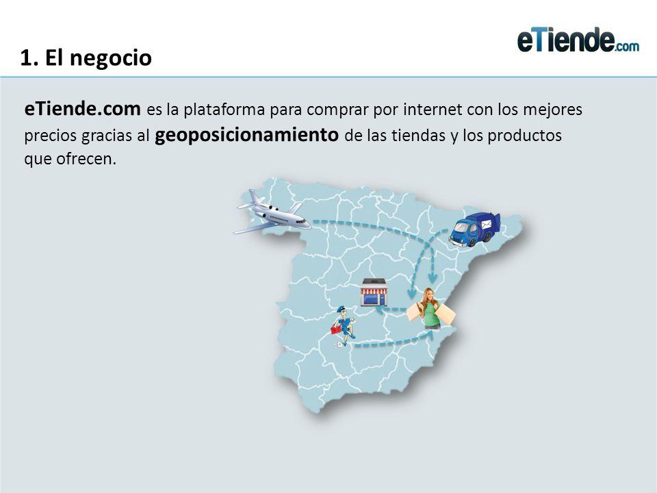 1. El negocio eTiende.com es la plataforma para comprar por internet con los mejores precios gracias al geoposicionamiento de las tiendas y los produc