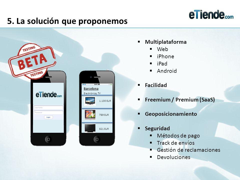 5. La solución que proponemos Barcelona Electrónica, TV 1.100 EUR 789 EUR 821 EUR Multiplataforma Web iPhone iPad Android Facilidad Freemium / Premium