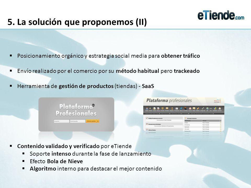 5. La solución que proponemos (II) Posicionamiento orgánico y estrategia social media para obtener tráfico Envío realizado por el comercio por su méto