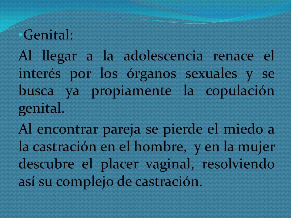 Genital: Al llegar a la adolescencia renace el interés por los órganos sexuales y se busca ya propiamente la copulación genital. Al encontrar pareja s