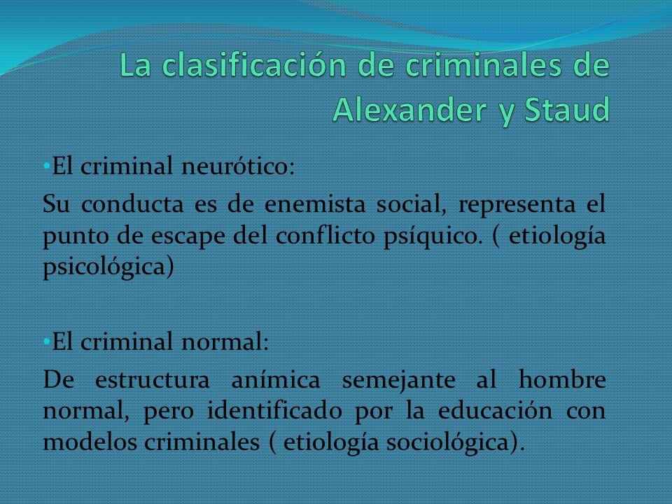 El criminal neurótico: Su conducta es de enemista social, representa el punto de escape del conflicto psíquico. ( etiología psicológica) El criminal n
