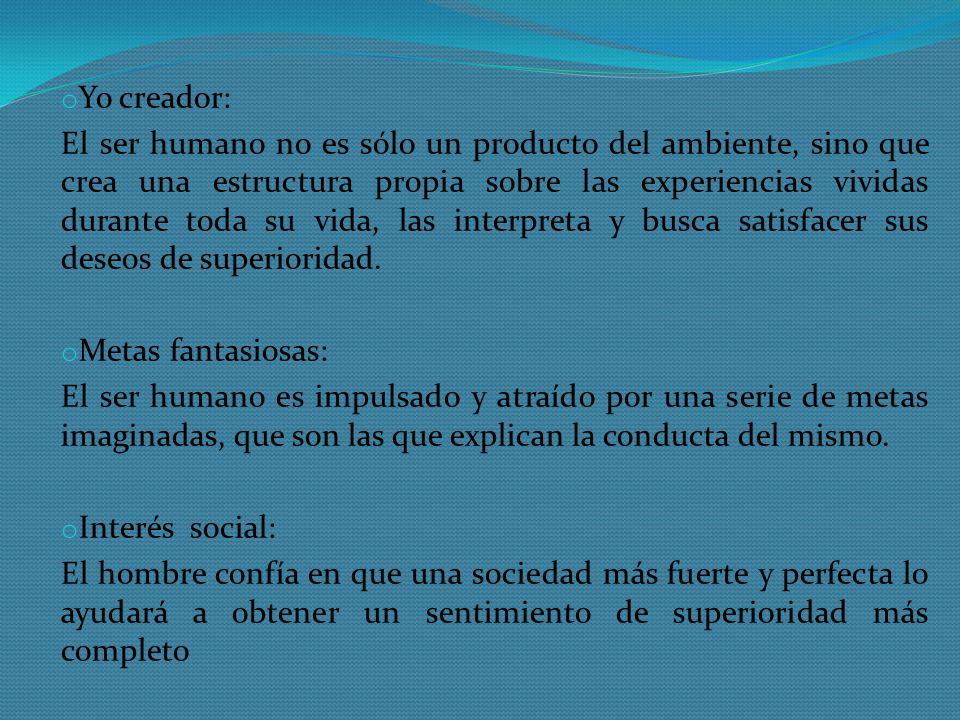 o Yo creador: El ser humano no es sólo un producto del ambiente, sino que crea una estructura propia sobre las experiencias vividas durante toda su vi