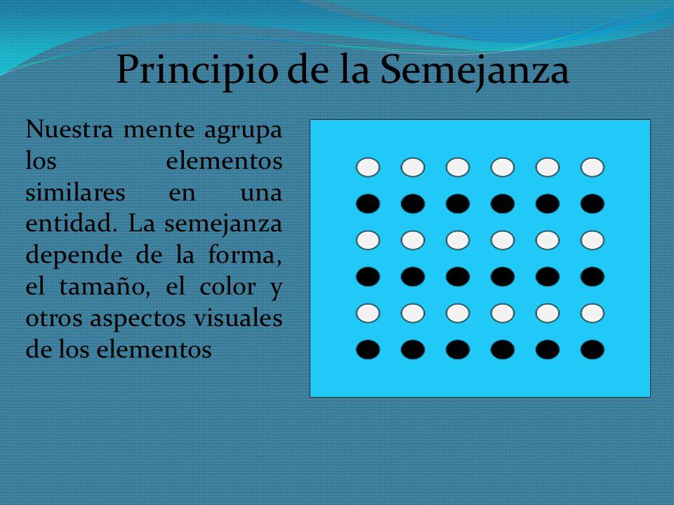 Principio de la Semejanza Nuestra mente agrupa los elementos similares en una entidad. La semejanza depende de la forma, el tamaño, el color y otros a