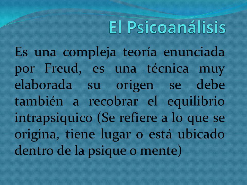 Es una compleja teoría enunciada por Freud, es una técnica muy elaborada su origen se debe también a recobrar el equilibrio intrapsiquico (Se refiere