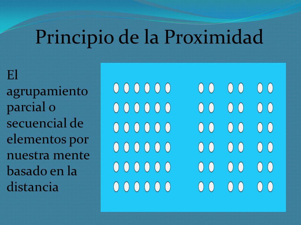 Principio de la Proximidad El agrupamiento parcial o secuencial de elementos por nuestra mente basado en la distancia