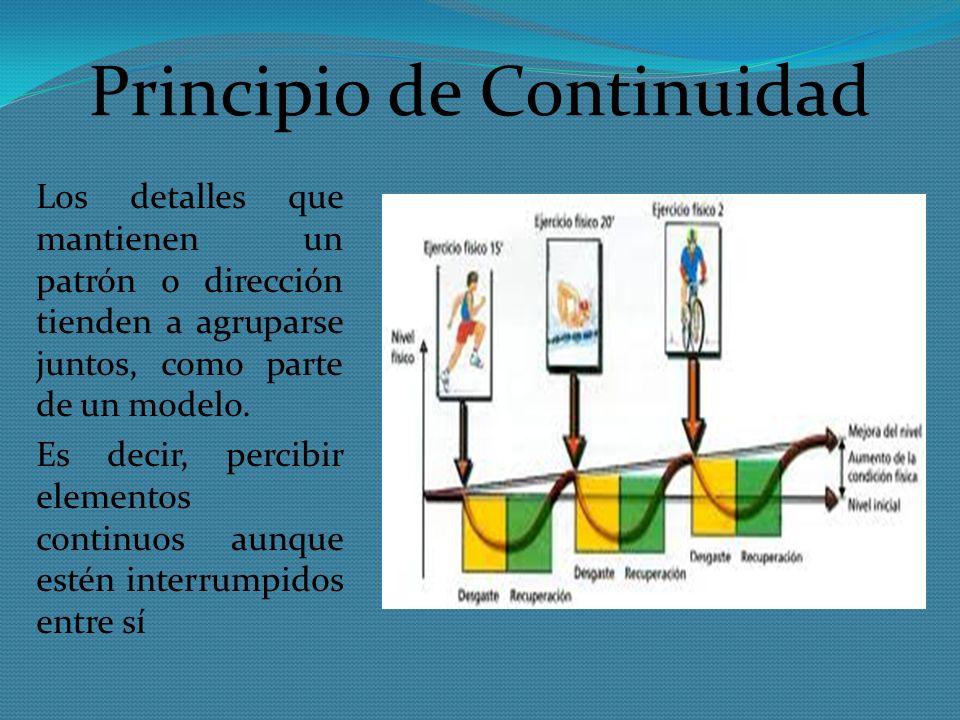 Principio de Continuidad Los detalles que mantienen un patrón o dirección tienden a agruparse juntos, como parte de un modelo. Es decir, percibir elem