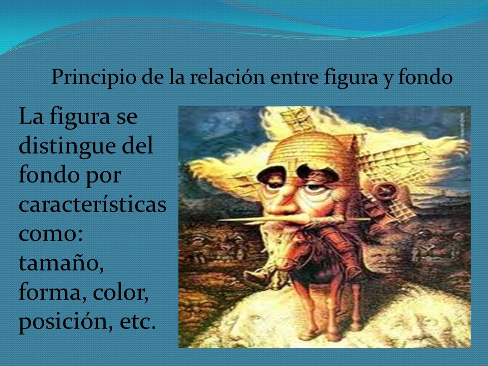 Principio de la relación entre figura y fondo La figura se distingue del fondo por características como: tamaño, forma, color, posición, etc.